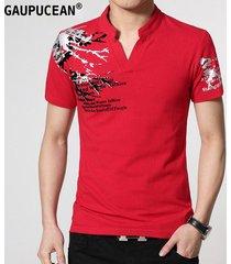 camiseta manga corta gaupucean para hombre-rojo