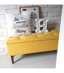 skrzynia siedzisko ławka pufa schowek żółty