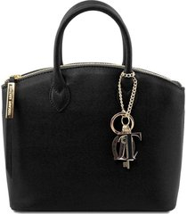 tuscany leather tl141265 tl keyluck - borsa shopper in pelle saffiano - misura piccola nero
