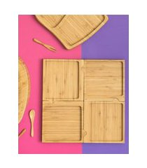 amaro feminino oikos petisqueira quadrado desmontável, bambu