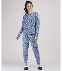 pijama de fleece feminino estampado paisley manga longa branco
