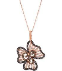 "le vian diamond flower 20"" pendant necklace (1-1/2 ct. t.w.) in 14k rose gold"