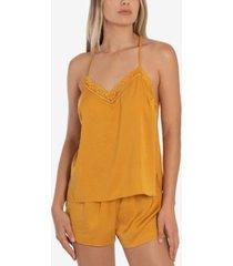 linea donatella 2-pc. lace trim cami & shorts pajama set
