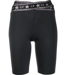 chiara ferragni logo-print slim-fit shorts - black