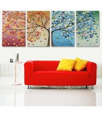4pcs temporada colorido del árbol de impresión de la lona de arte pintura de pared del hogar del cuadro salón decoración # 50 * 70cm - 50x70cm