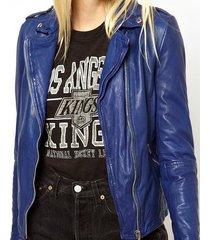 carmona asymmetric biker jacket,biker leather jacket blue