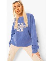 acid wash gebleekte oversized varsity sweater met tekst, marineblauw