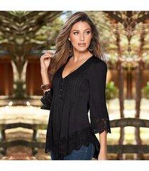camiseta de manga larga con costuras de encaje de verano de 7 puntos para mujer