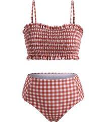 plaid print spaghetti strap shirred bikini set