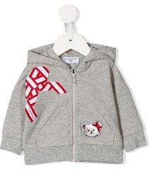 monnalisa bow detail hoodie - grey