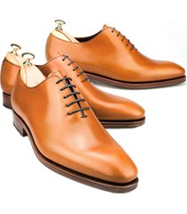 handmade oxford whole-cut shoes, tan dress fashion office business formal shoes