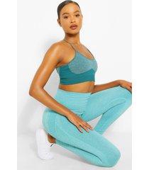 sportieve naadloze leggings met ondersteunende taille band, smaragd