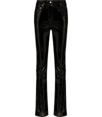 we11done faux patent-leather trousers - black