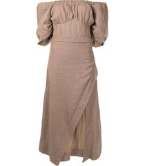 rachel gilbert capri off-shoulder dress - brown