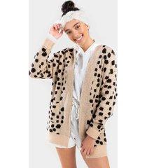 chelsea cheetah knit cardigan - beige