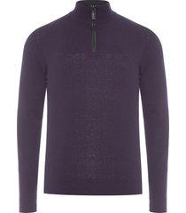 blusa masculina tricot básico meio zíper - roxo