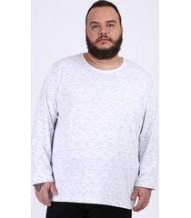 camiseta masculina plus size básica com bolso manga longa gola careca branca