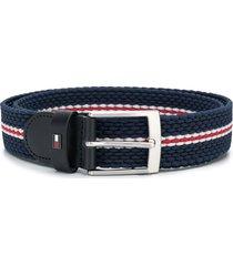 tommy hilfiger woven stripe belt - blue