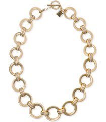 """laundry by shelli segal gold-tone pave link 20"""" collar necklace"""