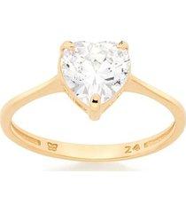 anel solitário skinny ring zircônia coração rommanel