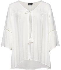 cardigan 3/4 lenght sleeves plus viscose crepe blus långärmad vit zizzi