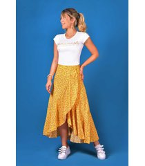 falda larga estampada outfit 1250 para mujer mostaza