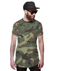 camiseta di nuevo longline camuflada verde exército preta