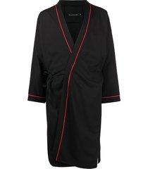 alchemy wrap-style midi coat - black