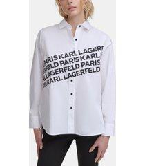karl lagerfeld paris logo angled shirt