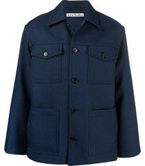 acne studios cargo long-sleeve jacket - blue