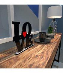 escultura de mesa love em mdf preto com coraã§ã£o vermelho ãšnico - multicolorido - dafiti