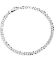chloe & madison women's rhodium-plated sterling silver curb chain bracelet