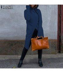 zanzea sudaderas con capucha de manga larga para mujer sudaderas con capucha con cremallera informal sudadera con capucha larga -azul marino