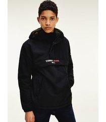 tommy hilfiger men's recycled nylon popover jacket black - xl