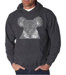 la pop art men's koala word art hooded sweatshirt