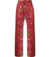 floral dragon print pants