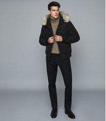 reiss bishop - faux fur hooded bomber jacket in black, mens, size xxl