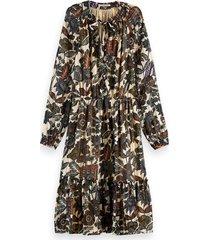scotch & soda 161511 0217 midi dress in drapey jacquard stripe combo a