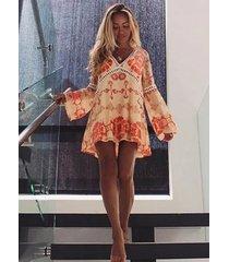 dp246 cflb bohemian vintage plunging neck floral chiffon a-line mini beach dress