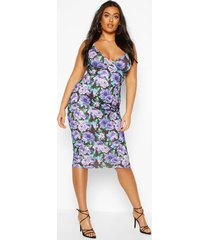 plus floral wrap midi dress, purple