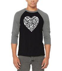 men's paw prints heart raglan baseball word art t-shirt