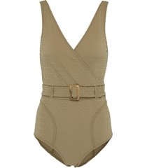 'yasmin' belted textured one-piece swimsuit