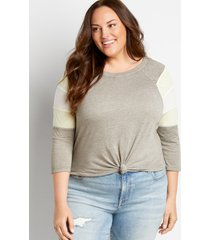 maurices plus size womens 24/7 gray striped baseball tee blue