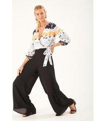 calça zinzane pantalona camadas - feminina - feminino