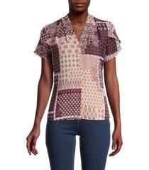 calvin klein women's mix-print top - blush multi - size s