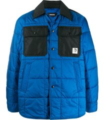diesel quilted shirt jacket - blue