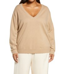 plus size women's vince weekend v-neck cashmere sweater, size 3x-large - brown