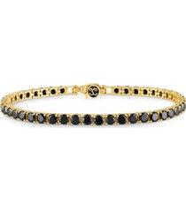 esquire men's jewelry black spinel tennis bracelet (16-1/2 ct. t.w.) in 14k gold-plated sterling silver, created for macy's