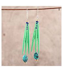 recycled paper and dolomite dangle earrings, 'green spikes' (india)
