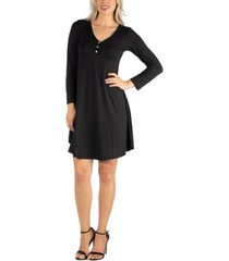24seven comfort apparel women's henley style long sleeve dress